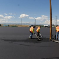 Paving an industrial parking lot